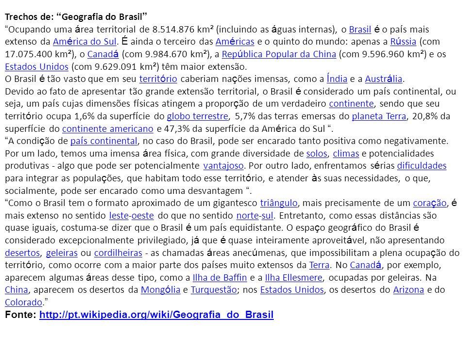 Trechos de: Geografia do Brasil Ocupando uma á rea territorial de 8.514.876 km ² (incluindo as á guas internas), o Brasil é o pa í s mais extenso da A