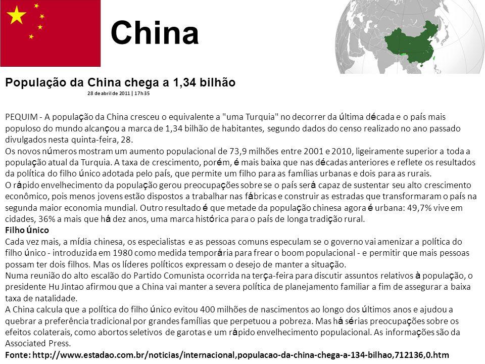 China População da China chega a 1,34 bilhão 28 de abril de 2011 | 17h 35 PEQUIM - A popula ç ão da China cresceu o equivalente a