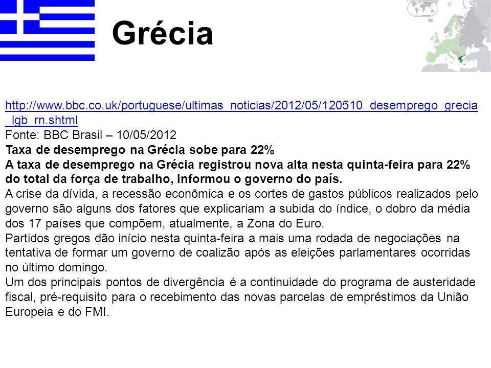 Grécia http://www.bbc.co.uk/portuguese/ultimas_noticias/2012/05/120510_desemprego_grecia _lgb_rn.shtml Fonte: BBC Brasil – 10/05/2012 Taxa de desempre