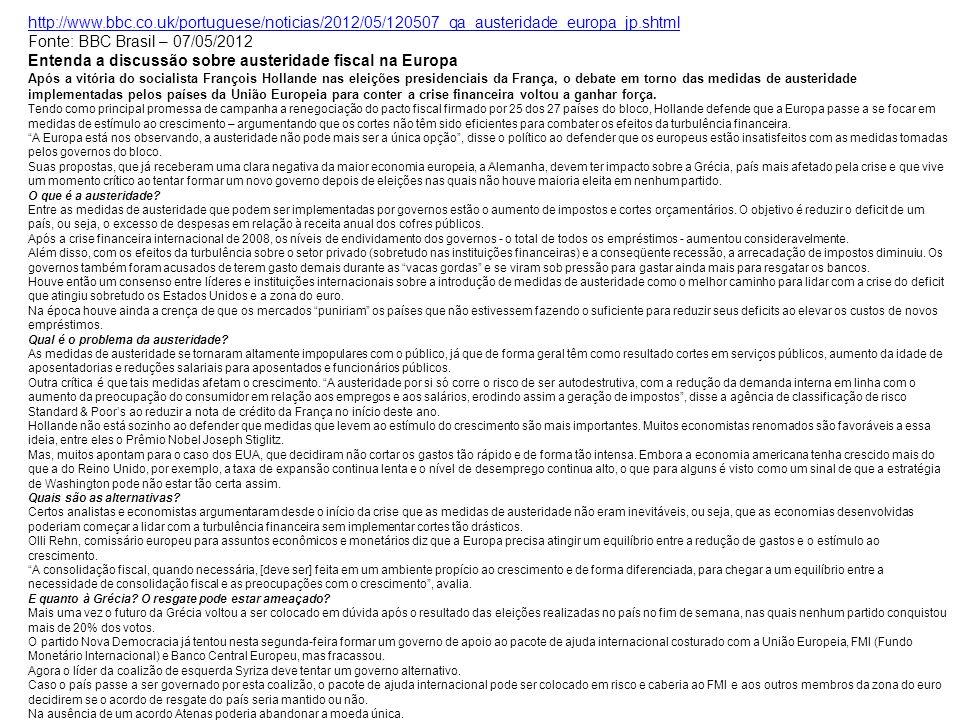 http://www.bbc.co.uk/portuguese/noticias/2012/05/120507_qa_austeridade_europa_jp.shtml Fonte: BBC Brasil – 07/05/2012 Entenda a discussão sobre auster