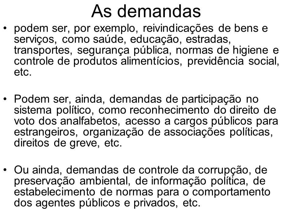 As demandas podem ser, por exemplo, reivindicações de bens e serviços, como saúde, educação, estradas, transportes, segurança pública, normas de higie
