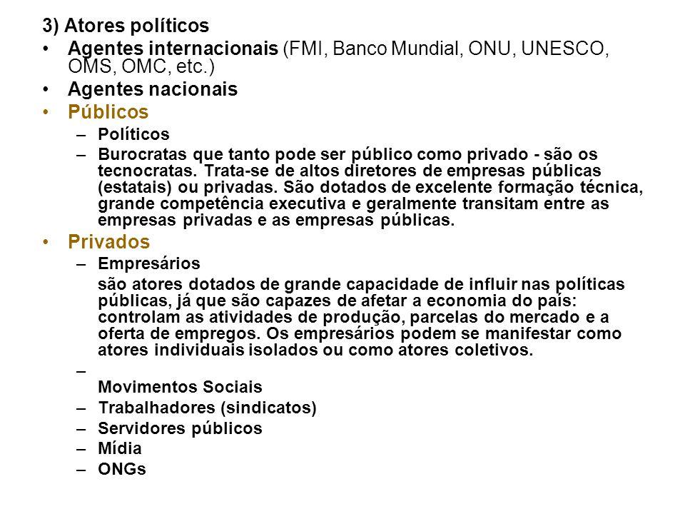 3) Atores políticos Agentes internacionais (FMI, Banco Mundial, ONU, UNESCO, OMS, OMC, etc.) Agentes nacionais Públicos –Políticos –Burocratas que tan