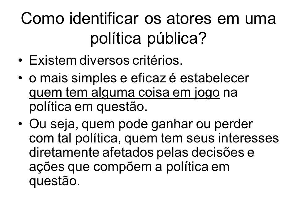 Como identificar os atores em uma política pública? Existem diversos critérios. o mais simples e eficaz é estabelecer quem tem alguma coisa em jogo na