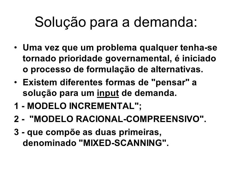 Solução para a demanda: Uma vez que um problema qualquer tenha se tornado prioridade governamental, é iniciado o processo de formulação de alternativa