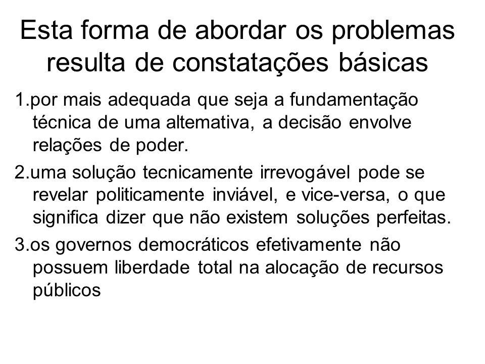 Esta forma de abordar os problemas resulta de constatações básicas 1.por mais adequada que seja a fundamentação técnica de uma altemativa, a decisão e