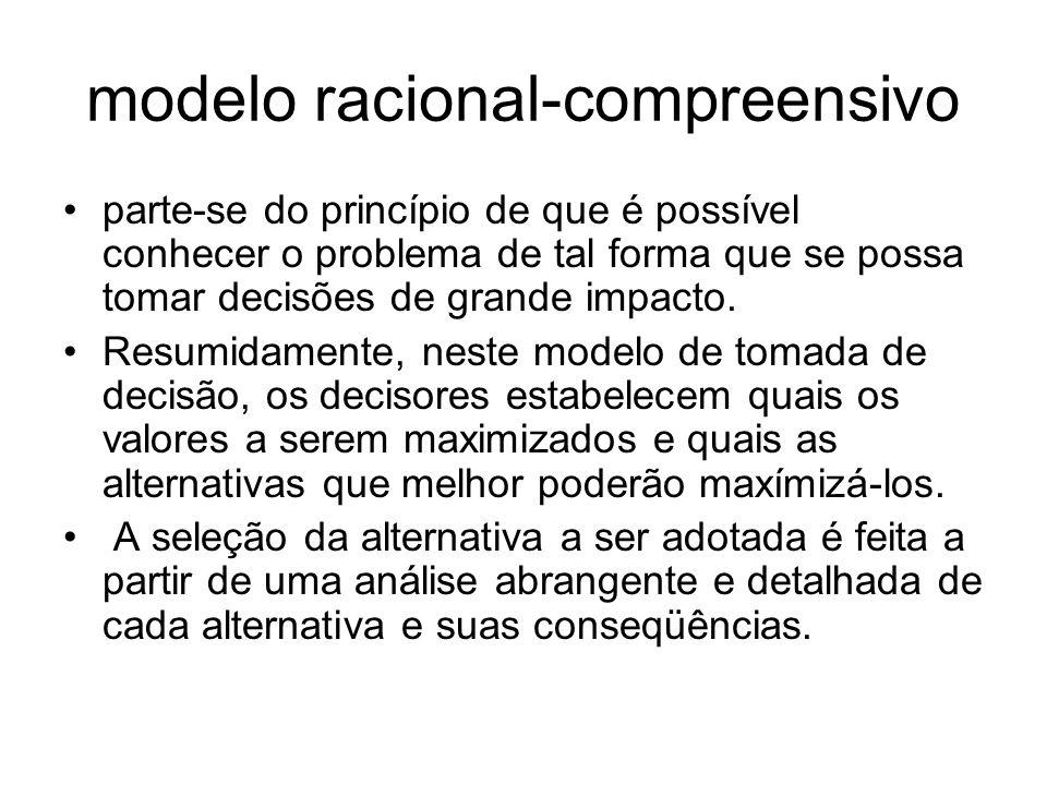 modelo racional compreensivo parte se do princípio de que é possível conhecer o problema de tal forma que se possa tomar decisões de grande impacto. R