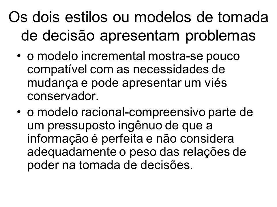 Os dois estilos ou modelos de tomada de decisão apresentam problemas o modelo incremental mostra se pouco compatível com as necessidades de mudança e
