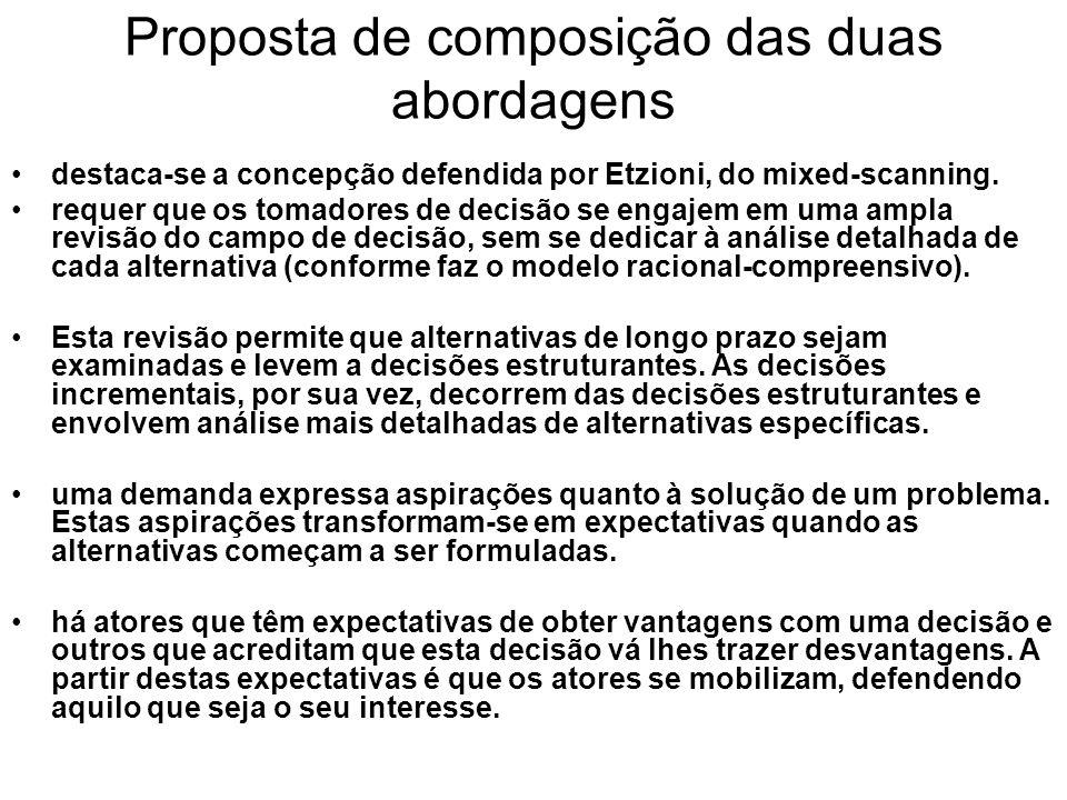 Proposta de composição das duas abordagens destaca se a concepção defendida por Etzioni, do mixed scanning. requer que os tomadores de decisão se enga