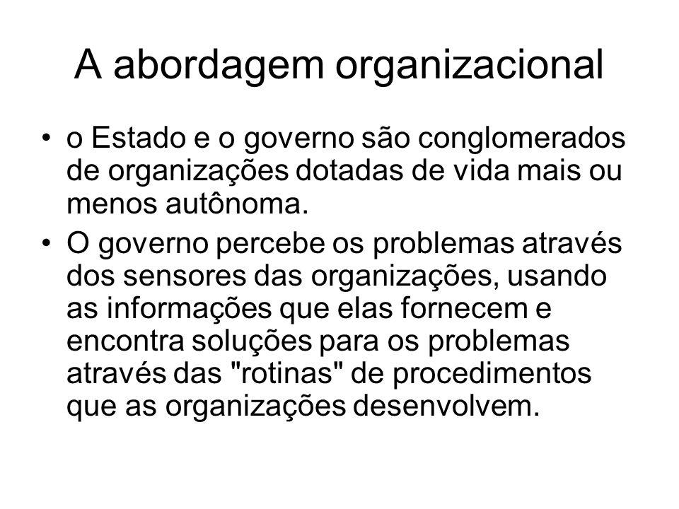 A abordagem organizacional o Estado e o governo são conglomerados de organizações dotadas de vida mais ou menos autônoma. O governo percebe os problem