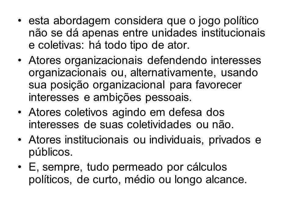 esta abordagem considera que o jogo político não se dá apenas entre unidades institucionais e coletivas: há todo tipo de ator. Atores organizacionais