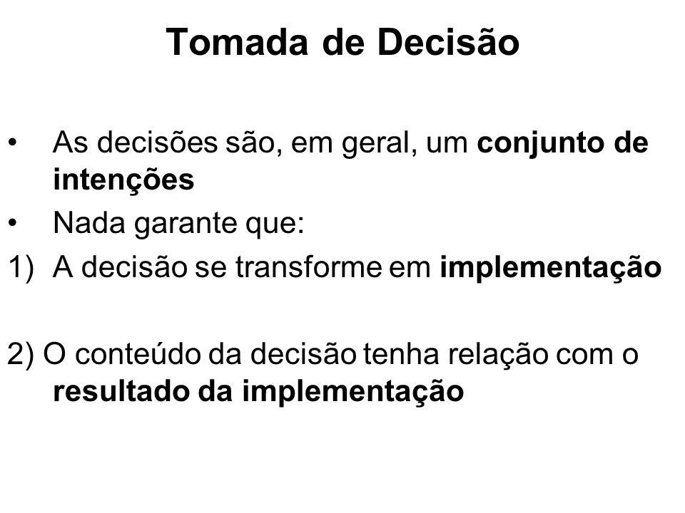 Tomada de Decisão As decisões são, em geral, um conjunto de intenções Nada garante que: 1)A decisão se transforme em implementação 2) O conteúdo da de