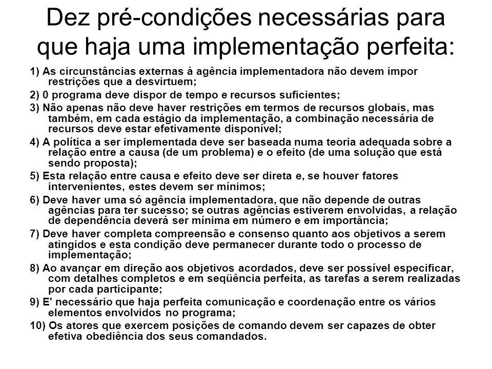Dez pré condições necessárias para que haja uma implementação perfeita: 1) As circunstâncias externas à agência implementadora não devem impor restriç