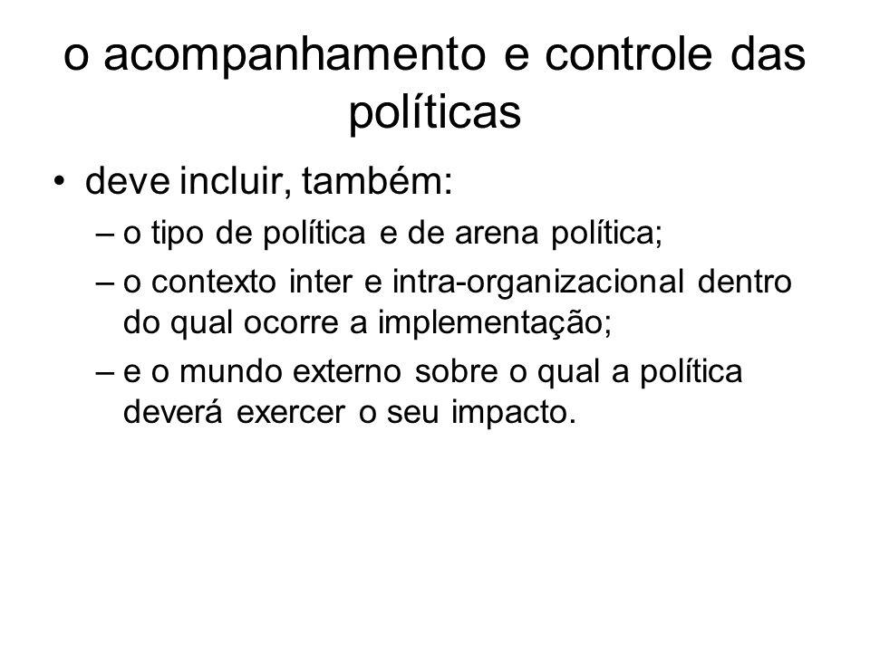 o acompanhamento e controle das políticas deve incluir, também: –o tipo de política e de arena política; –o contexto inter e intra organizacional dent