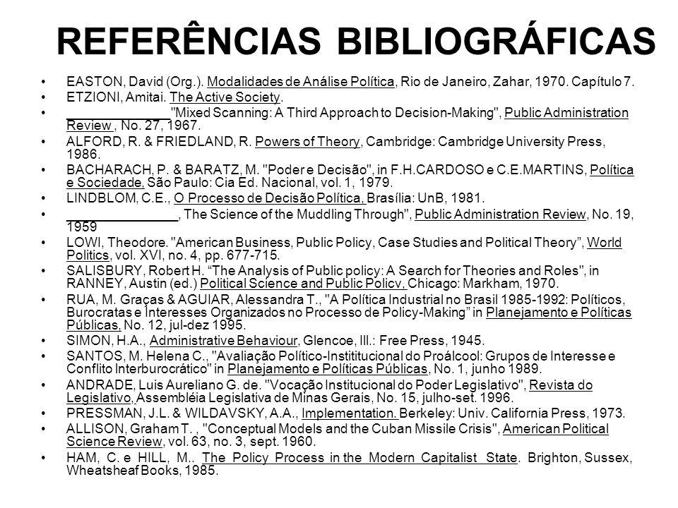 REFERÊNCIAS BIBLIOGRÁFICAS EASTON, David (Org.). Modalidades de Análise Política, Rio de Janeiro, Zahar, 1970. Capítulo 7. ETZIONI, Amitai. The Active