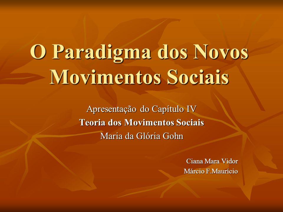 O Paradigma dos Novos Movimentos Sociais Apresentação do Capítulo IV Teoria dos Movimentos Sociais Maria da Glória Gohn Ciana Mara Vidor Márcio F.Maur