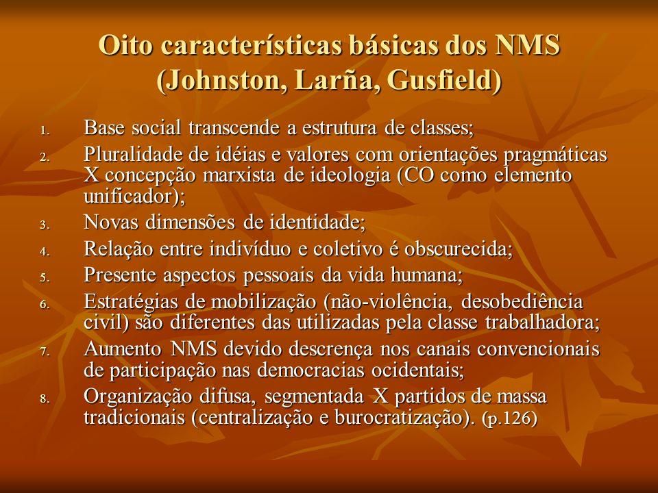 Oito características básicas dos NMS (Johnston, Larña, Gusfield) 1. Base social transcende a estrutura de classes; 2. Pluralidade de idéias e valores