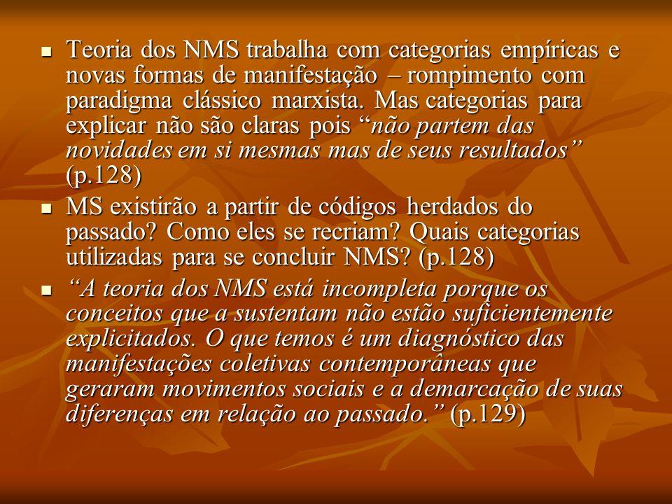 Gusfield movimento-forma movimento-forma X Estruturas associativas Estruturas associativas MS tradicionais: MO MS tradicionais: MO movimento- representação movimento- representação Significado cultural NMS (Melucci)