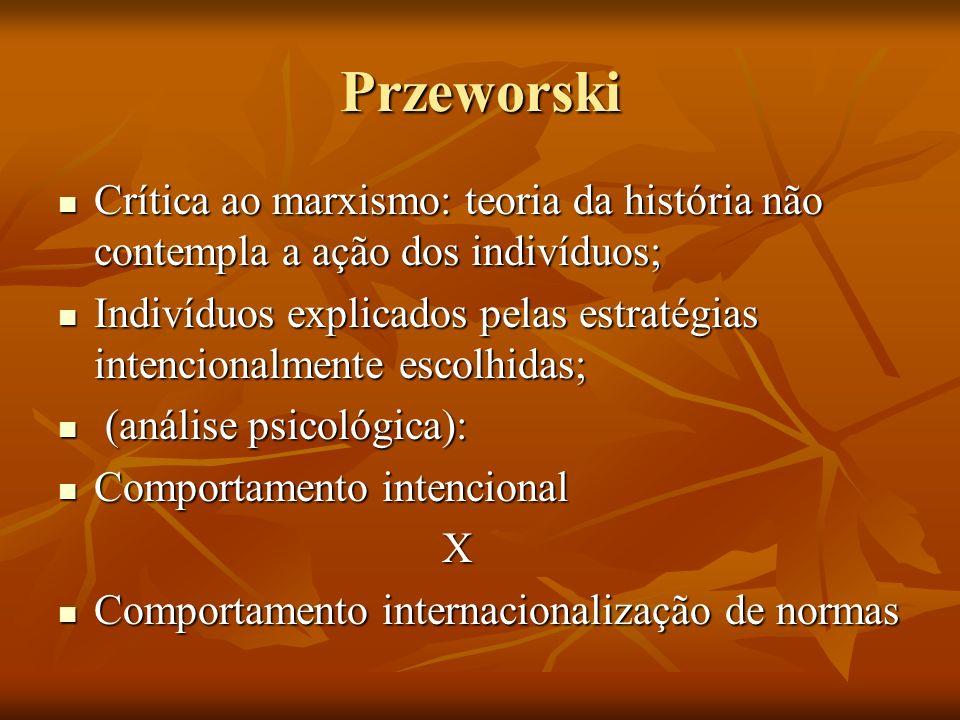 Przeworski Crítica ao marxismo: teoria da história não contempla a ação dos indivíduos; Crítica ao marxismo: teoria da história não contempla a ação d