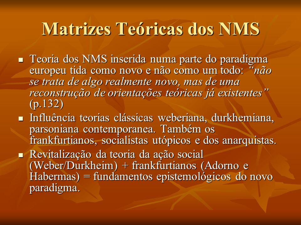 Matrizes Teóricas dos NMS Teoria dos NMS inserida numa parte do paradigma europeu tida como novo e não como um todo: não se trata de algo realmente no