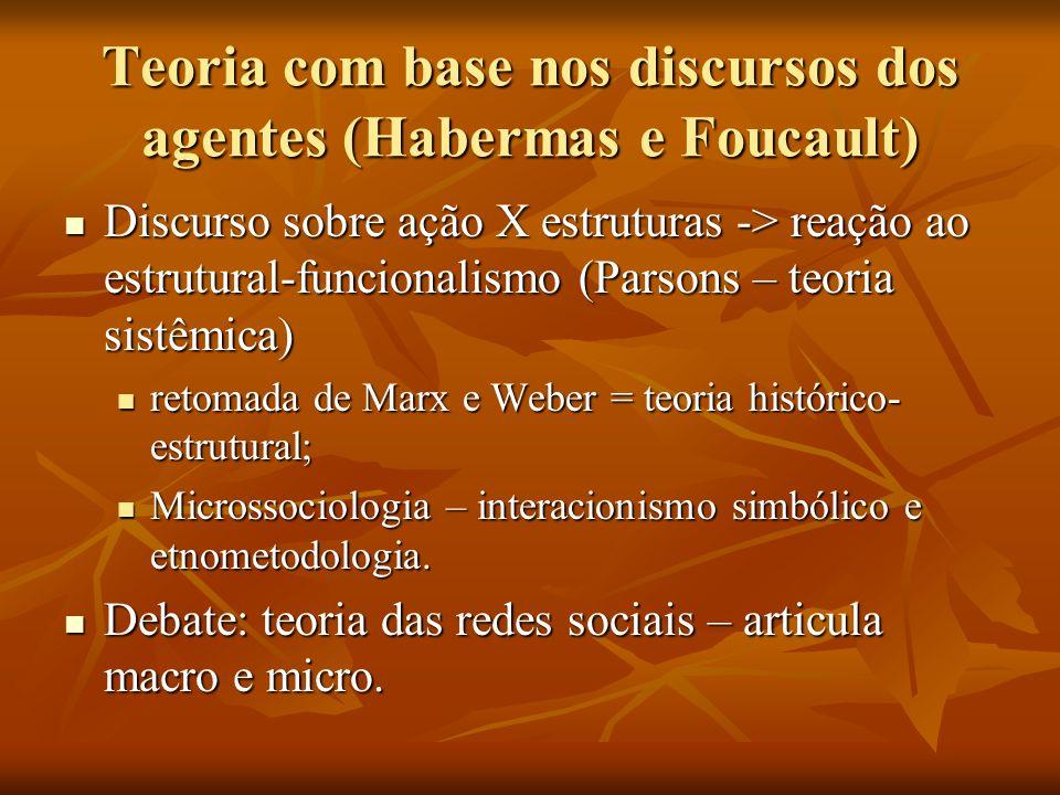 Teoria com base nos discursos dos agentes (Habermas e Foucault) Discurso sobre ação X estruturas -> reação ao estrutural-funcionalismo (Parsons – teor