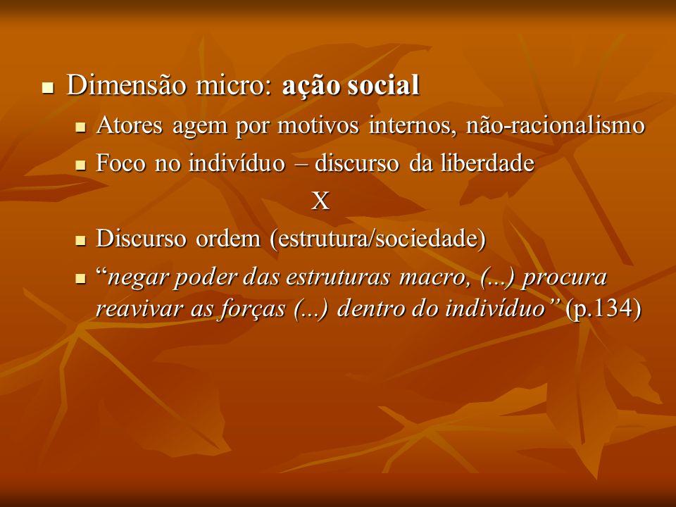 Dimensão micro: ação social Dimensão micro: ação social Atores agem por motivos internos, não-racionalismo Atores agem por motivos internos, não-racio
