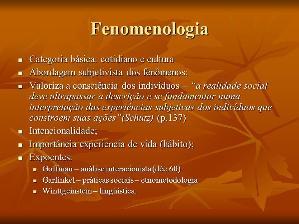 Fenomenologia Categoria básica: cotidiano e cultura Categoria básica: cotidiano e cultura Abordagem subjetivista dos fenômenos; Abordagem subjetivista