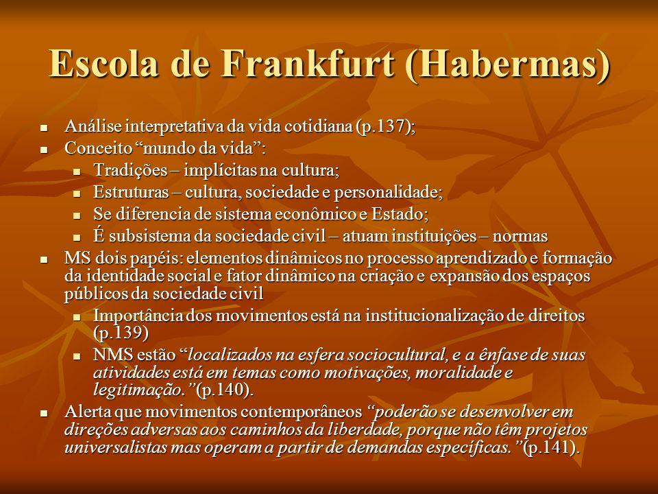 Escola de Frankfurt (Habermas) Análise interpretativa da vida cotidiana (p.137); Análise interpretativa da vida cotidiana (p.137); Conceito mundo da v