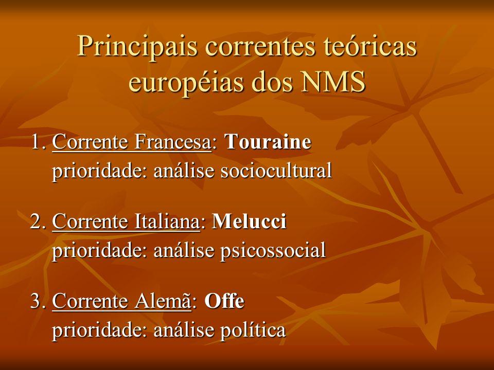Principais correntes teóricas européias dos NMS 1. Corrente Francesa: Touraine prioridade: análise sociocultural prioridade: análise sociocultural 2.