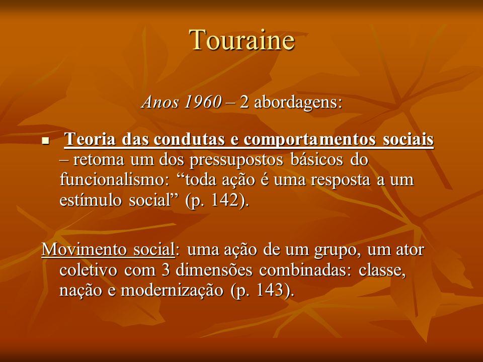Touraine Anos 1960 – 2 abordagens: Teoria das condutas e comportamentos sociais – retoma um dos pressupostos básicos do funcionalismo: toda ação é uma