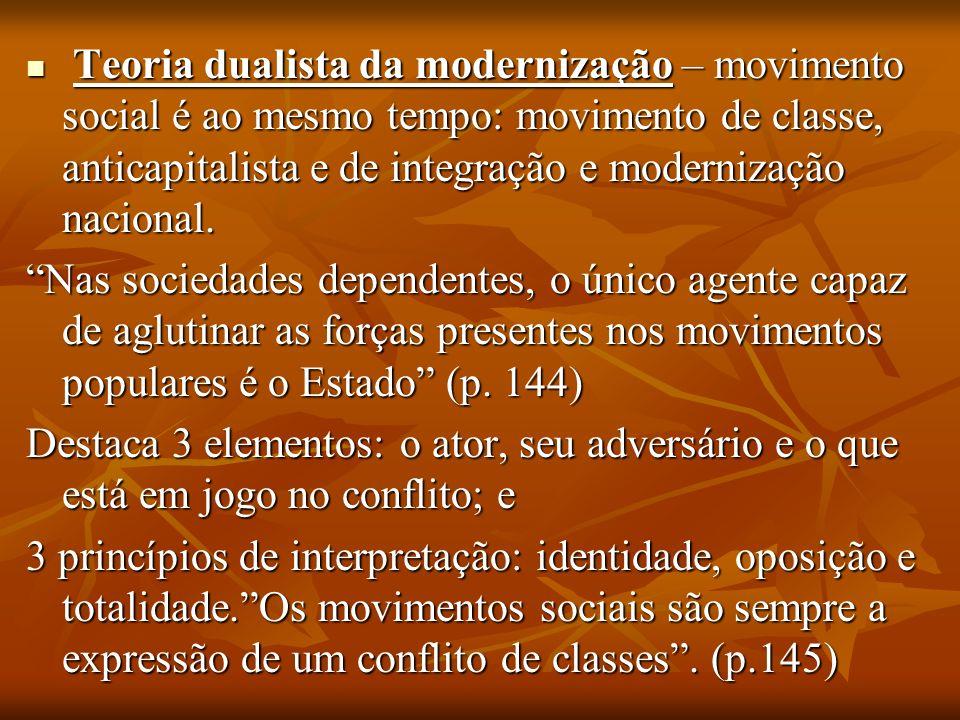 Teoria dualista da modernização – movimento social é ao mesmo tempo: movimento de classe, anticapitalista e de integração e modernização nacional. Teo