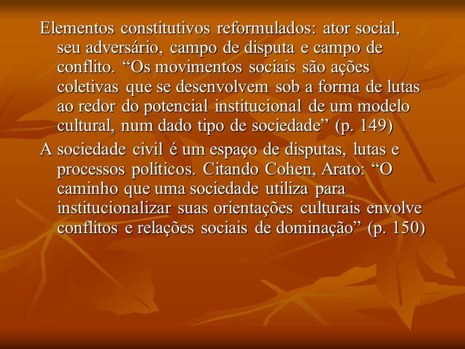 Elementos constitutivos reformulados: ator social, seu adversário, campo de disputa e campo de conflito. Os movimentos sociais são ações coletivas que