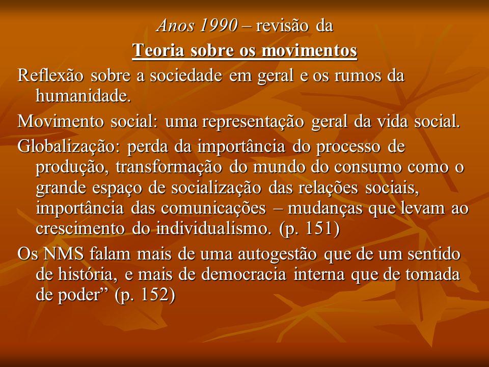 Anos 1990 – revisão da Teoria sobre os movimentos Reflexão sobre a sociedade em geral e os rumos da humanidade. Movimento social: uma representação ge