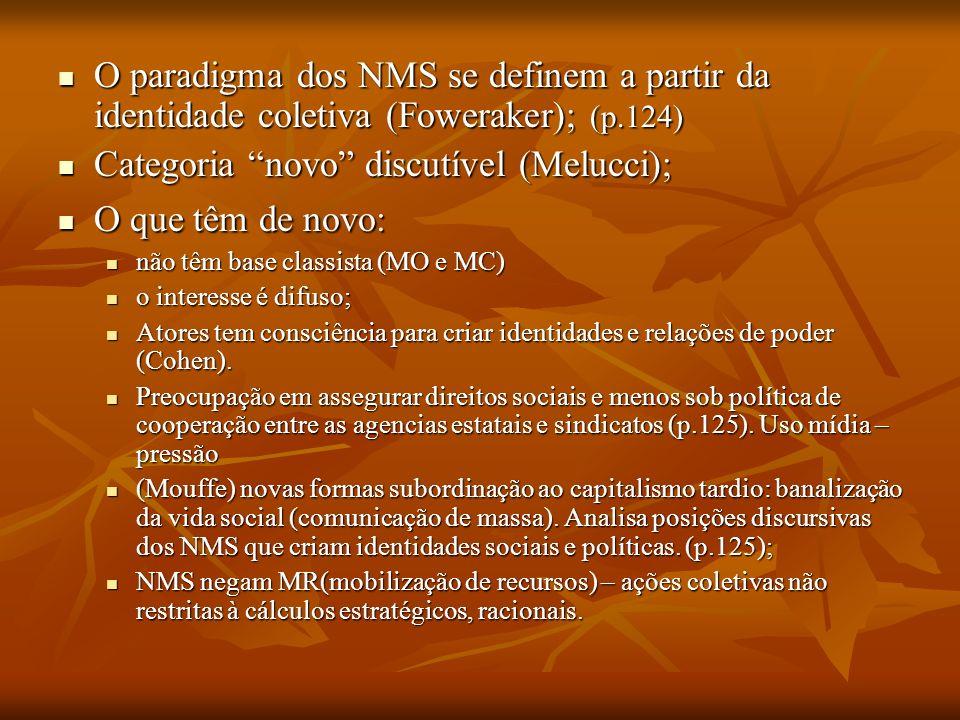 O paradigma dos NMS se definem a partir da identidade coletiva (Foweraker); (p.124) O paradigma dos NMS se definem a partir da identidade coletiva (Fo