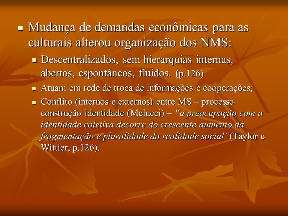 Mudança de demandas econômicas para as culturais alterou organização dos NMS: Mudança de demandas econômicas para as culturais alterou organização dos
