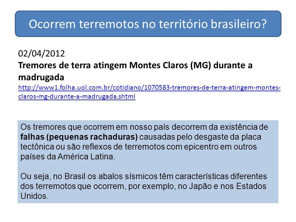 02/04/2012 Tremores de terra atingem Montes Claros (MG) durante a madrugada http://www1.folha.uol.com.br/cotidiano/1070583-tremores-de-terra-atingem-m