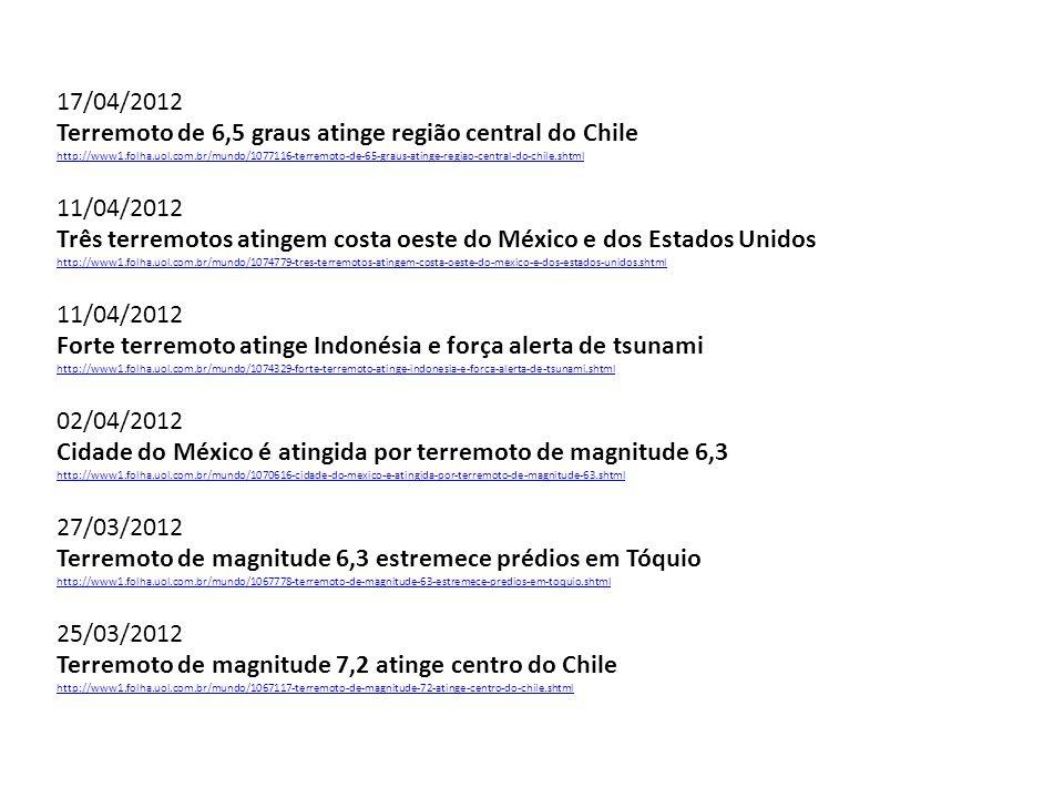 17/04/2012 Terremoto de 6,5 graus atinge região central do Chile http://www1.folha.uol.com.br/mundo/1077116-terremoto-de-65-graus-atinge-regiao-centra
