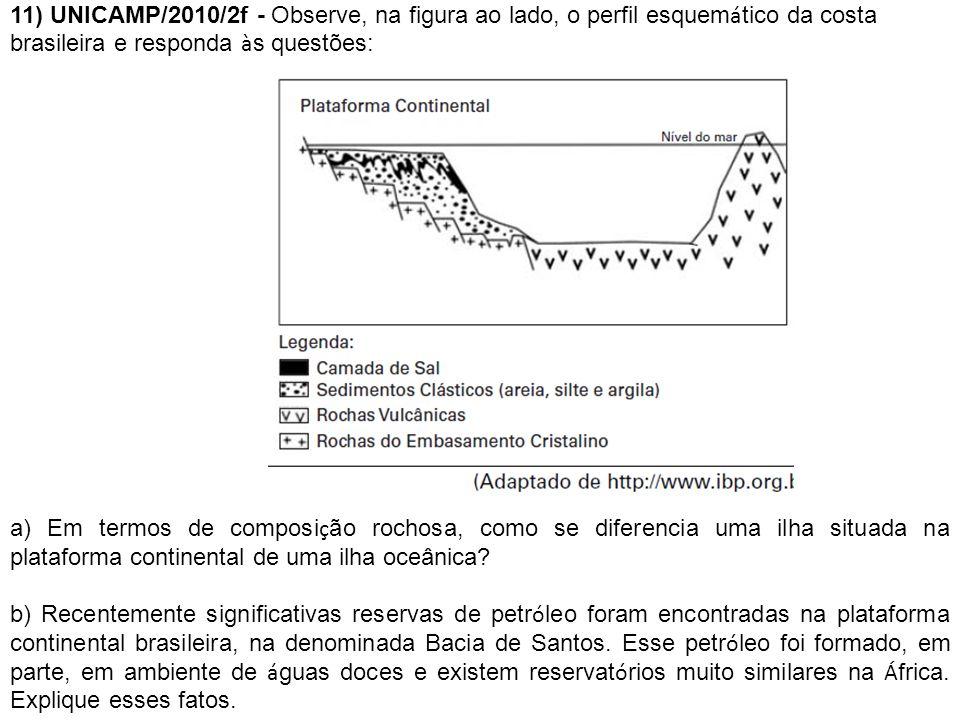 11) UNICAMP/2010/2f - Observe, na figura ao lado, o perfil esquem á tico da costa brasileira e responda à s questões: a) Em termos de composi ç ão roc