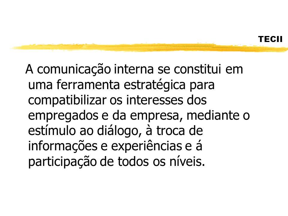 TECII A comunicação interna se constitui em uma ferramenta estratégica para compatibilizar os interesses dos empregados e da empresa, mediante o estím