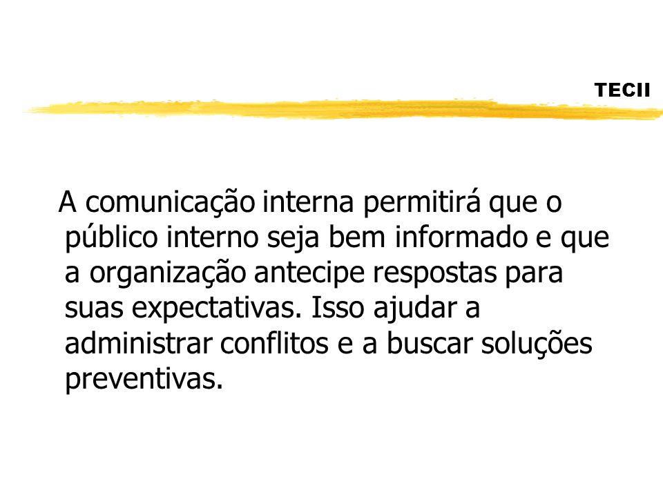 TECII A comunicação interna permitirá que o público interno seja bem informado e que a organização antecipe respostas para suas expectativas. Isso aju