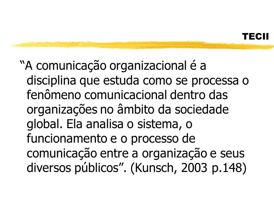 TECII A comunicação organizacional é a disciplina que estuda como se processa o fenômeno comunicacional dentro das organizações no âmbito da sociedade