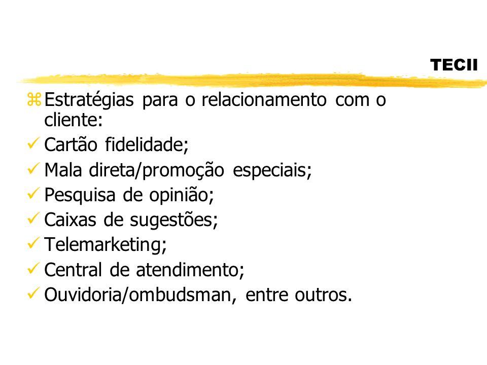 TECII zEstratégias para o relacionamento com o cliente: Cartão fidelidade; Mala direta/promoção especiais; Pesquisa de opinião; Caixas de sugestões; T