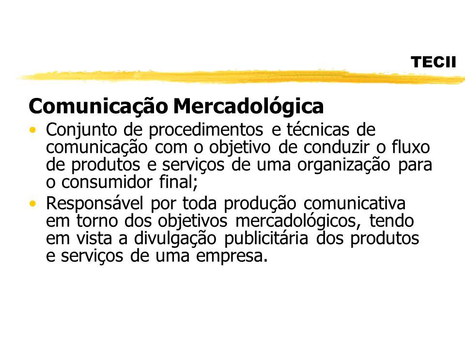 TECII Comunicação Mercadológica Conjunto de procedimentos e técnicas de comunicação com o objetivo de conduzir o fluxo de produtos e serviços de uma o