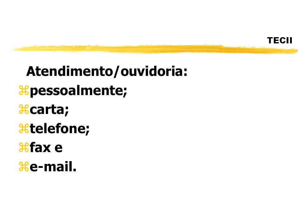 TECII Atendimento/ouvidoria: zpessoalmente; zcarta; ztelefone; zfax e ze-mail.