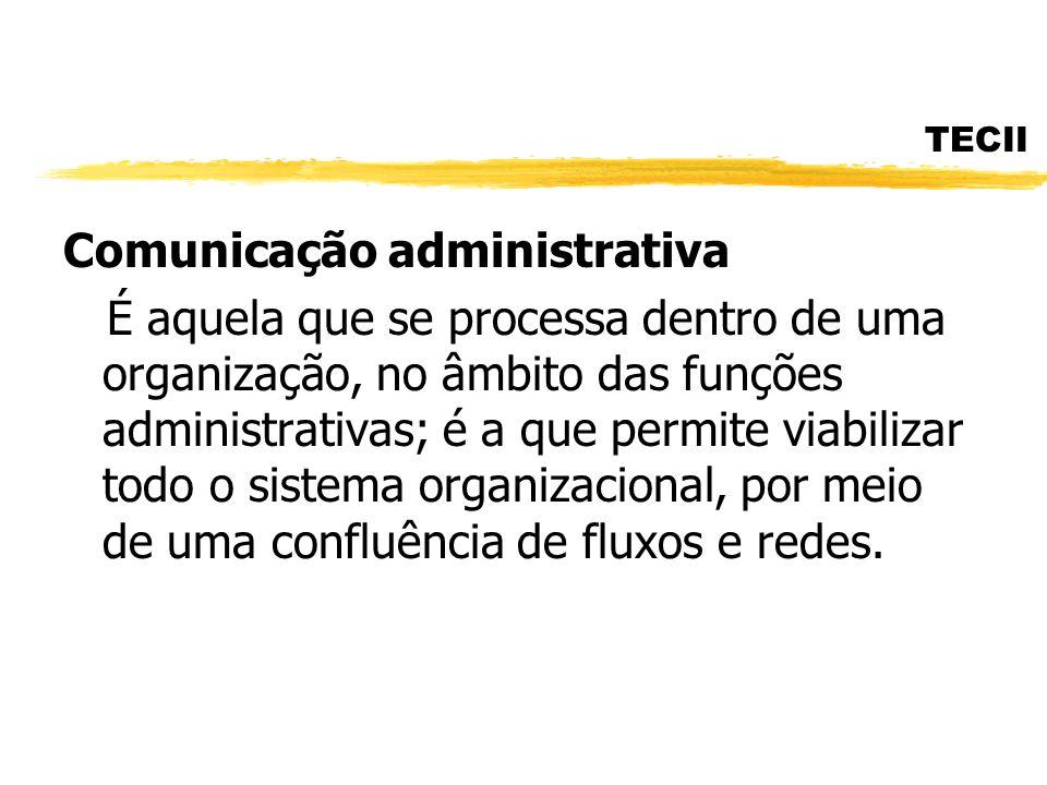 TECII Comunicação administrativa É aquela que se processa dentro de uma organização, no âmbito das funções administrativas; é a que permite viabilizar