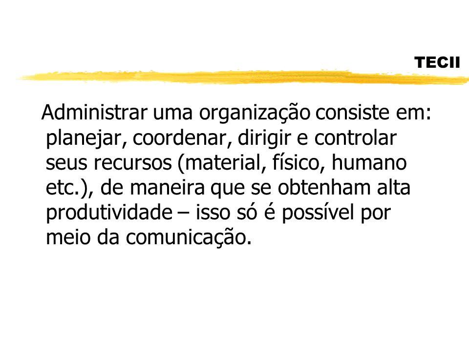 TECII Administrar uma organização consiste em: planejar, coordenar, dirigir e controlar seus recursos (material, físico, humano etc.), de maneira que