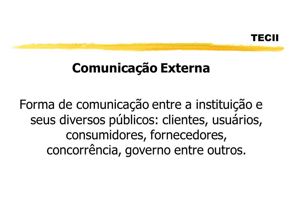 TECII Comunicação Externa Forma de comunicação entre a instituição e seus diversos públicos: clientes, usuários, consumidores, fornecedores, concorrên