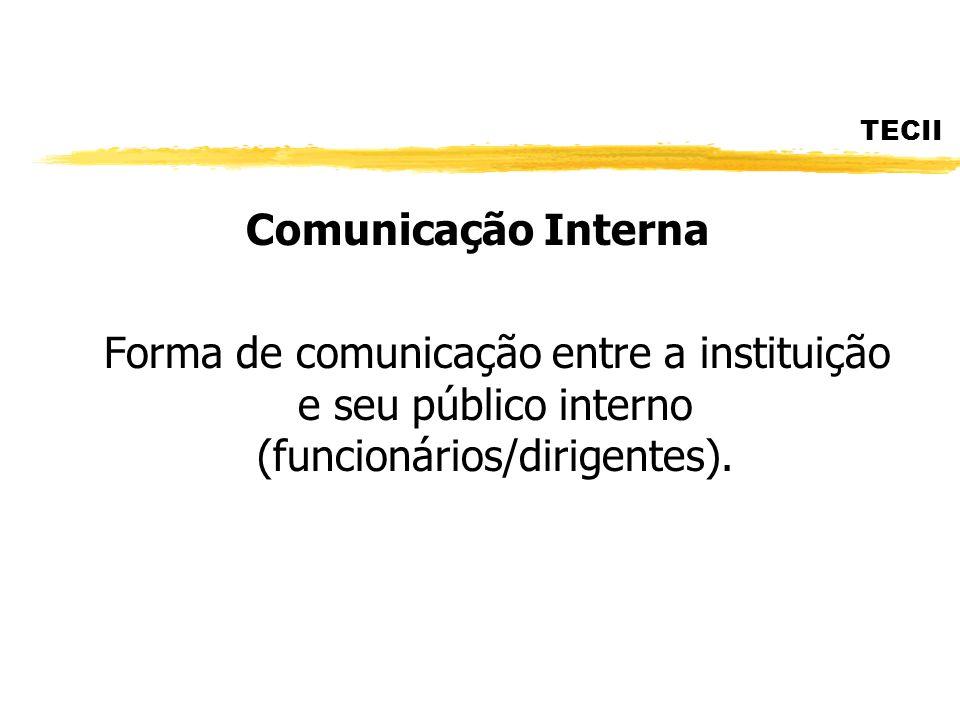 TECII Comunicação Interna Forma de comunicação entre a instituição e seu público interno (funcionários/dirigentes).