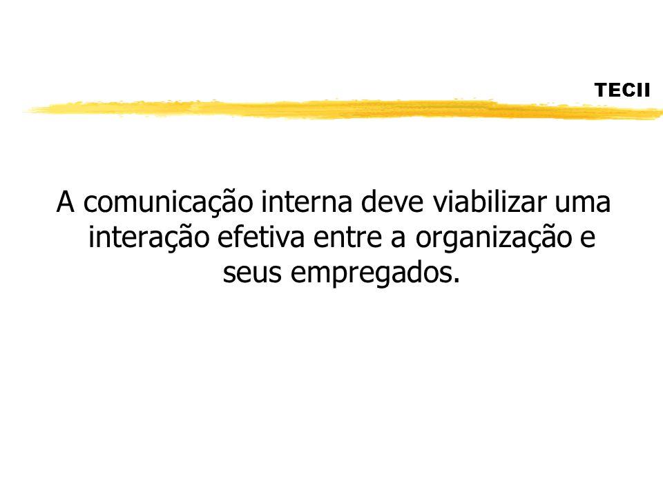 TECII A comunicação interna se constitui em uma ferramenta estratégica para compatibilizar os interesses dos empregados e da empresa, mediante o estímulo ao diálogo, à troca de informações e experiências e á participação de todos os níveis.