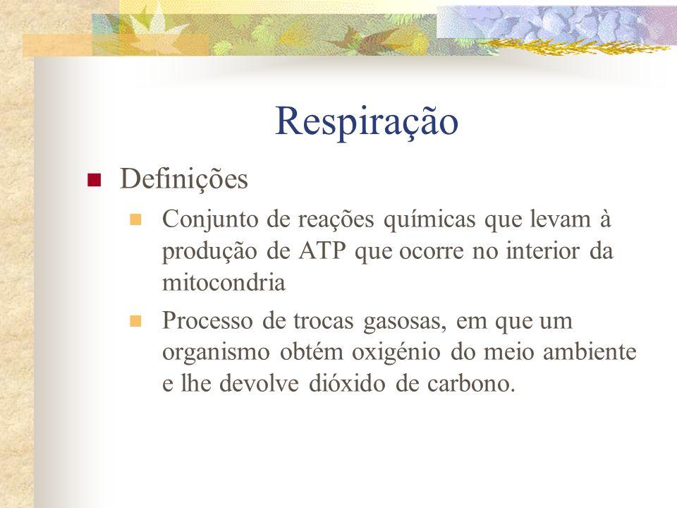 Respiração Definições Conjunto de reações químicas que levam à produção de ATP que ocorre no interior da mitocondria Processo de trocas gasosas, em qu