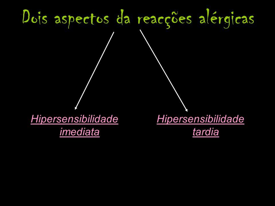 Dois aspectos da reacções alérgicas Hipersensibilidade imediata Hipersensibilidade tardia